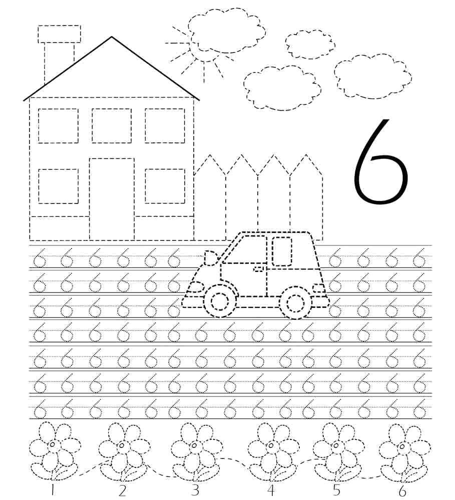 Раскраска Учимся писать цифру 6 Скачать Цифры, счёт, числа.  Распечатать ,прописи цифры,