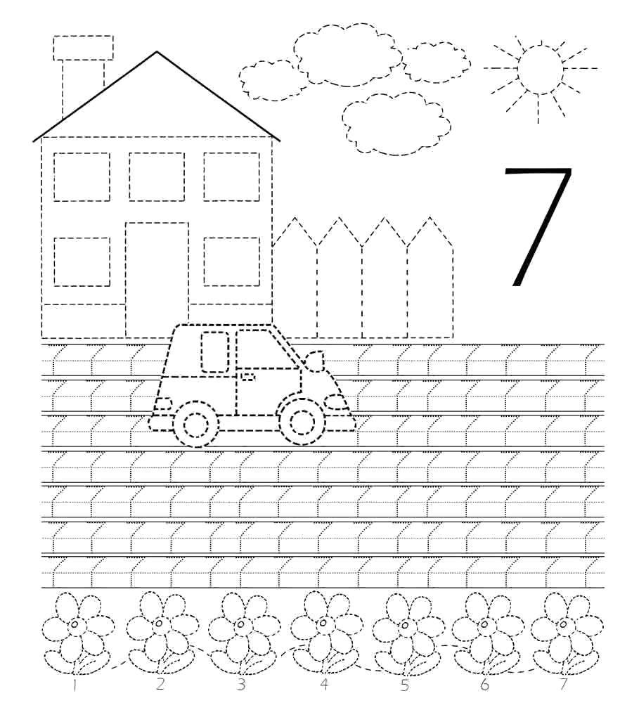 Раскраска Учимся писать цифру 7 Скачать Цифры, счёт, числа.  Распечатать ,прописи цифры,
