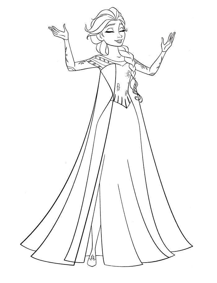Раскраска Эльза из мультфильма холодное сердце Скачать Дисней, Эльза, Холодное сердце, принцесса.  Распечатать ,раскраски холодное сердце,