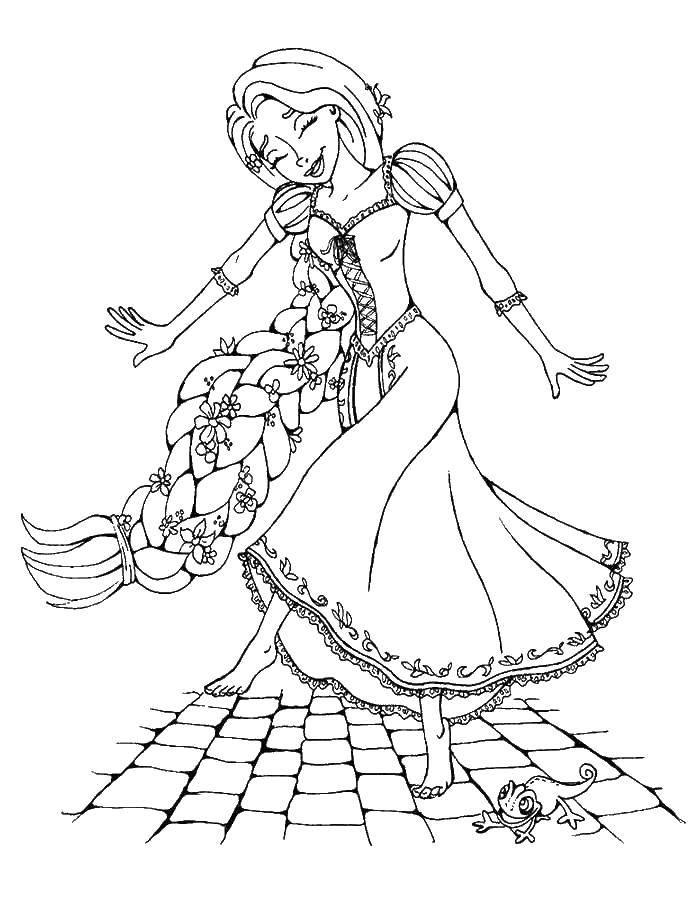 Раскраска Рапунцель танцует Скачать рапунцель, запутанная история.  Распечатать ,раскраски рапунцель запутанная история,