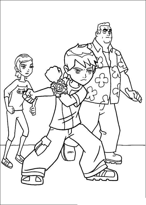 Раскраска Бен тен Скачать ,Персонаж из мультфильма, Бен Тен,.  Распечатать