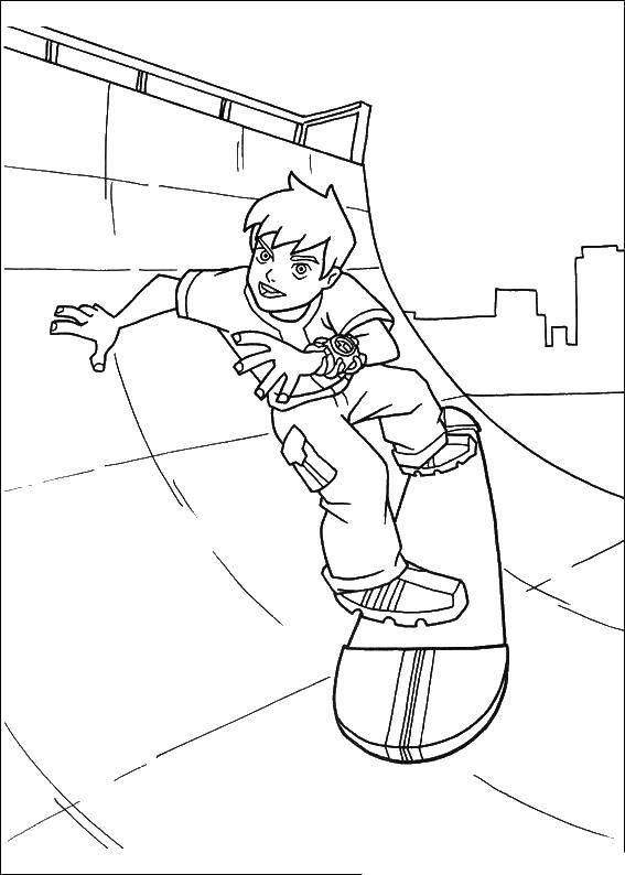 Раскраска Скейтбордист Скачать ,Персонаж из мультфильма, Бен Тен,.  Распечатать
