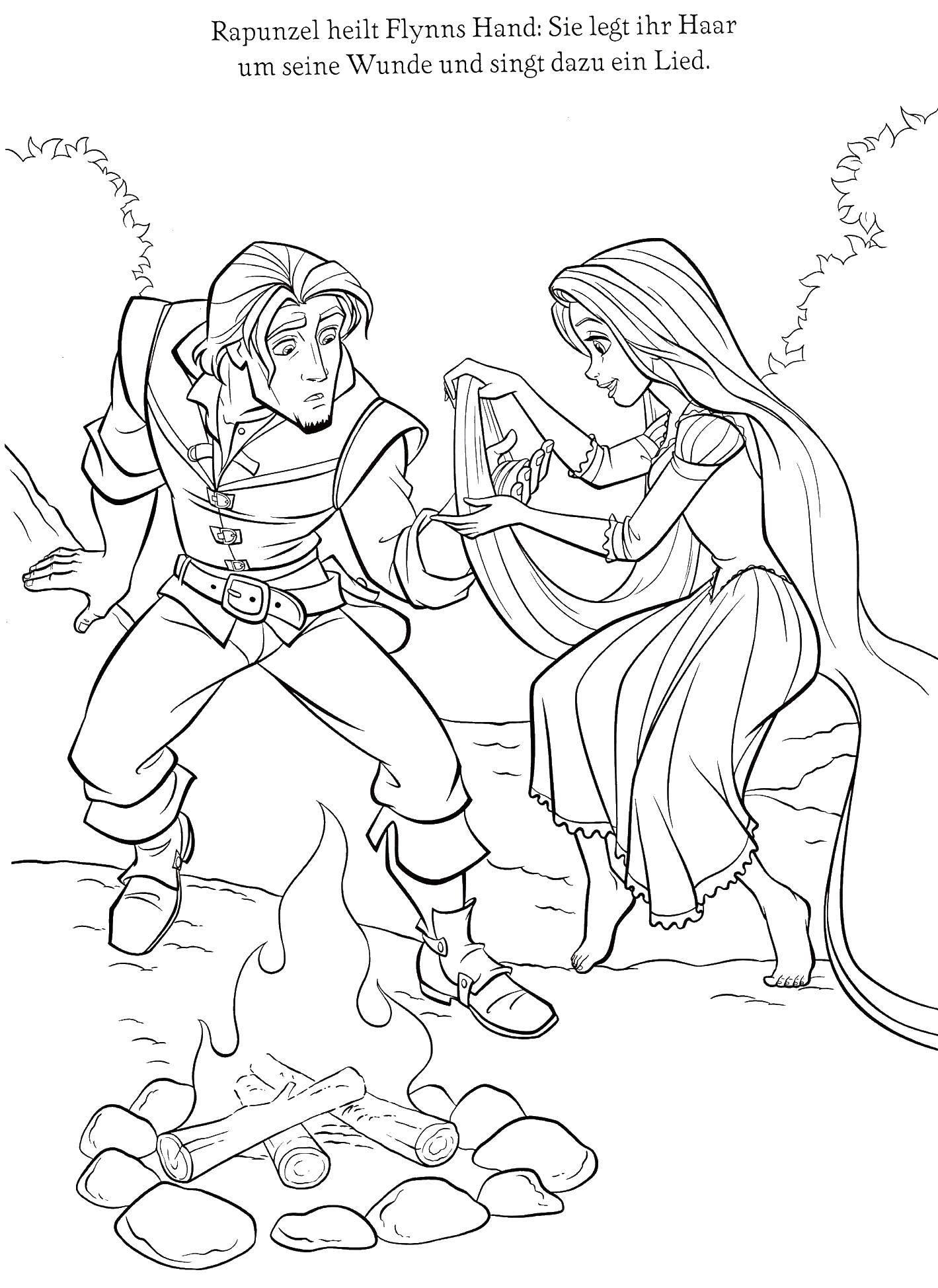Название: Раскраска Рапунцель и флинн. Категория: Персонажи из сказок. Теги: рапунцель, флинн, костер.