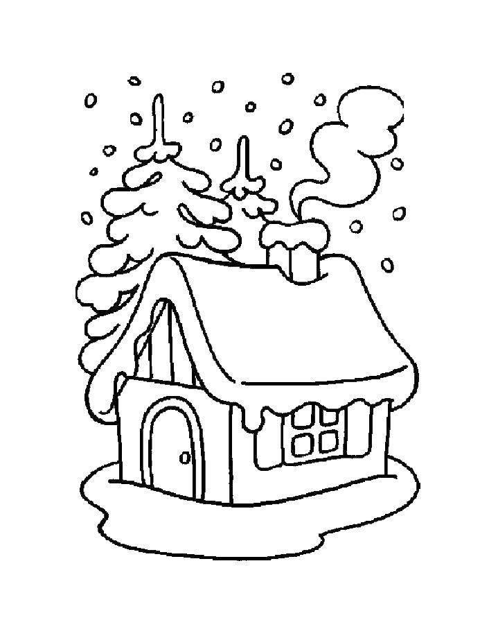 Раскраска Домик в лесу зимой Скачать домик.  Распечатать ,зима,