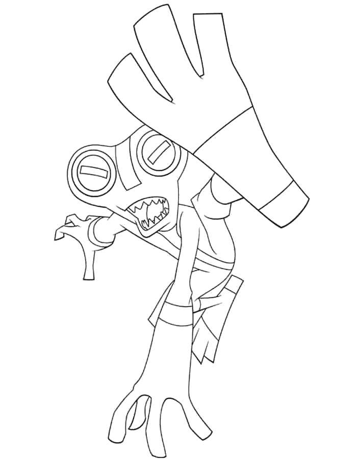 Название: Раскраска Персонаж из мультфильма бен тен. Категория: Персонаж из мультфильма. Теги: Персонаж из мультфильма, Бен Тен.