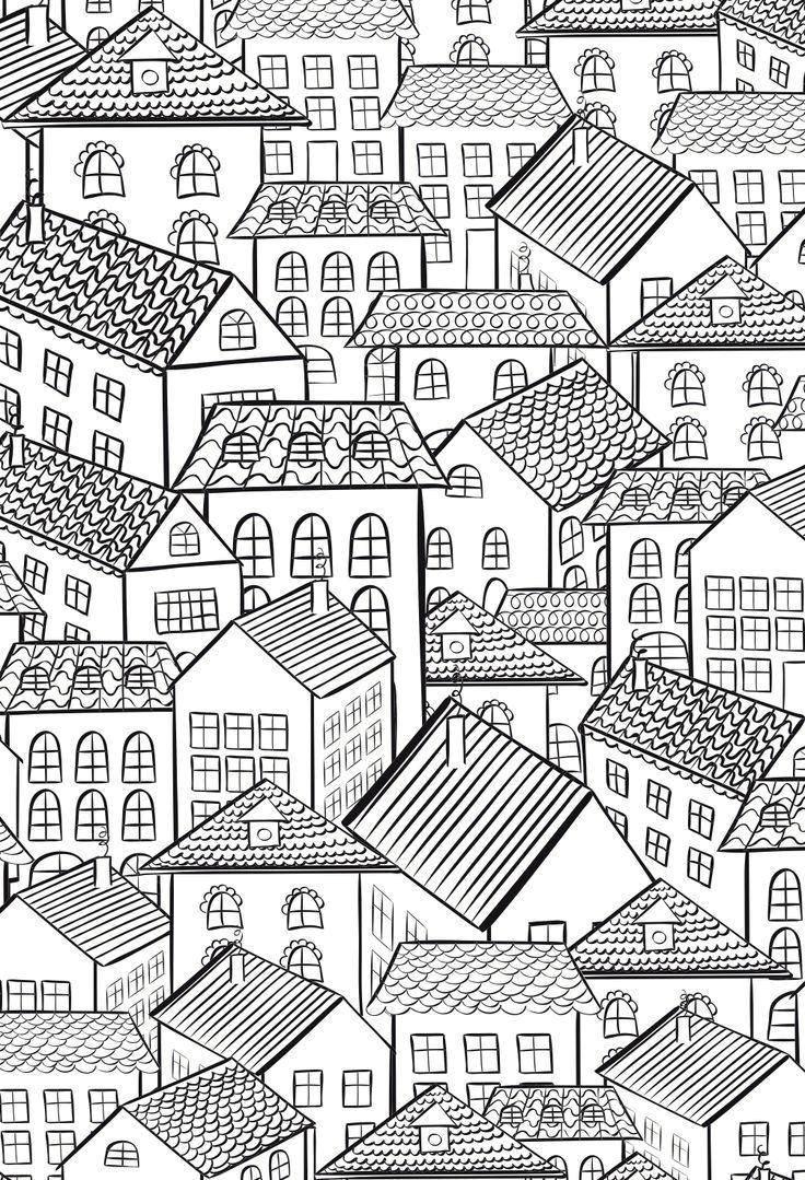 Раскраска город Скачать .  Распечатать