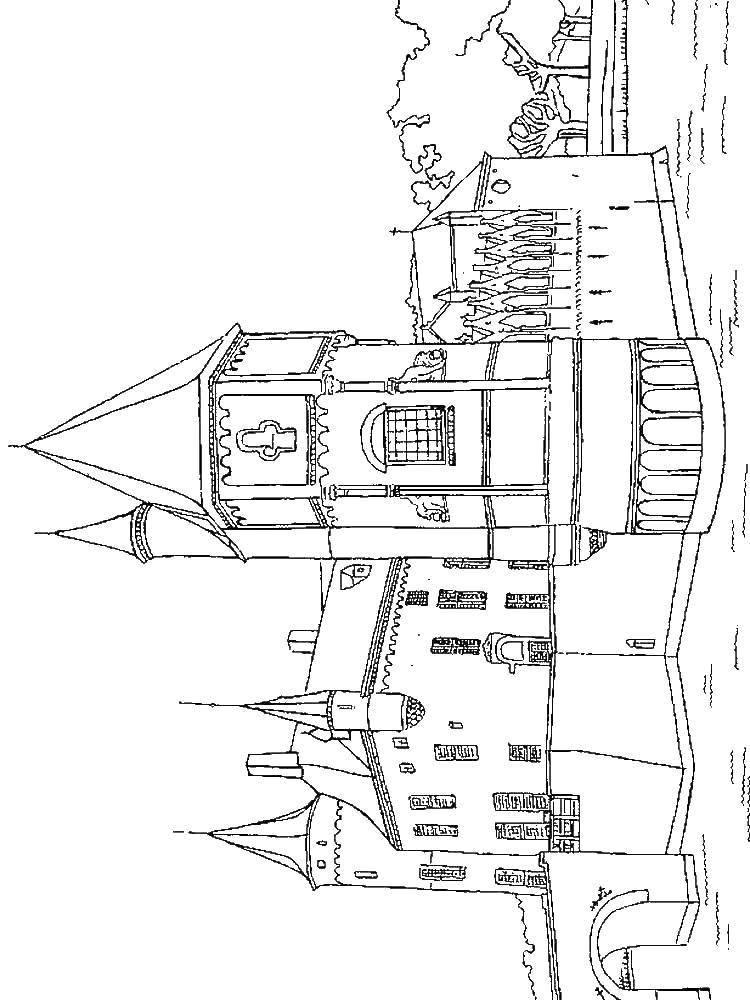 Раскраска Замок на воде Скачать Замок, вода, башни.  Распечатать ,замки,