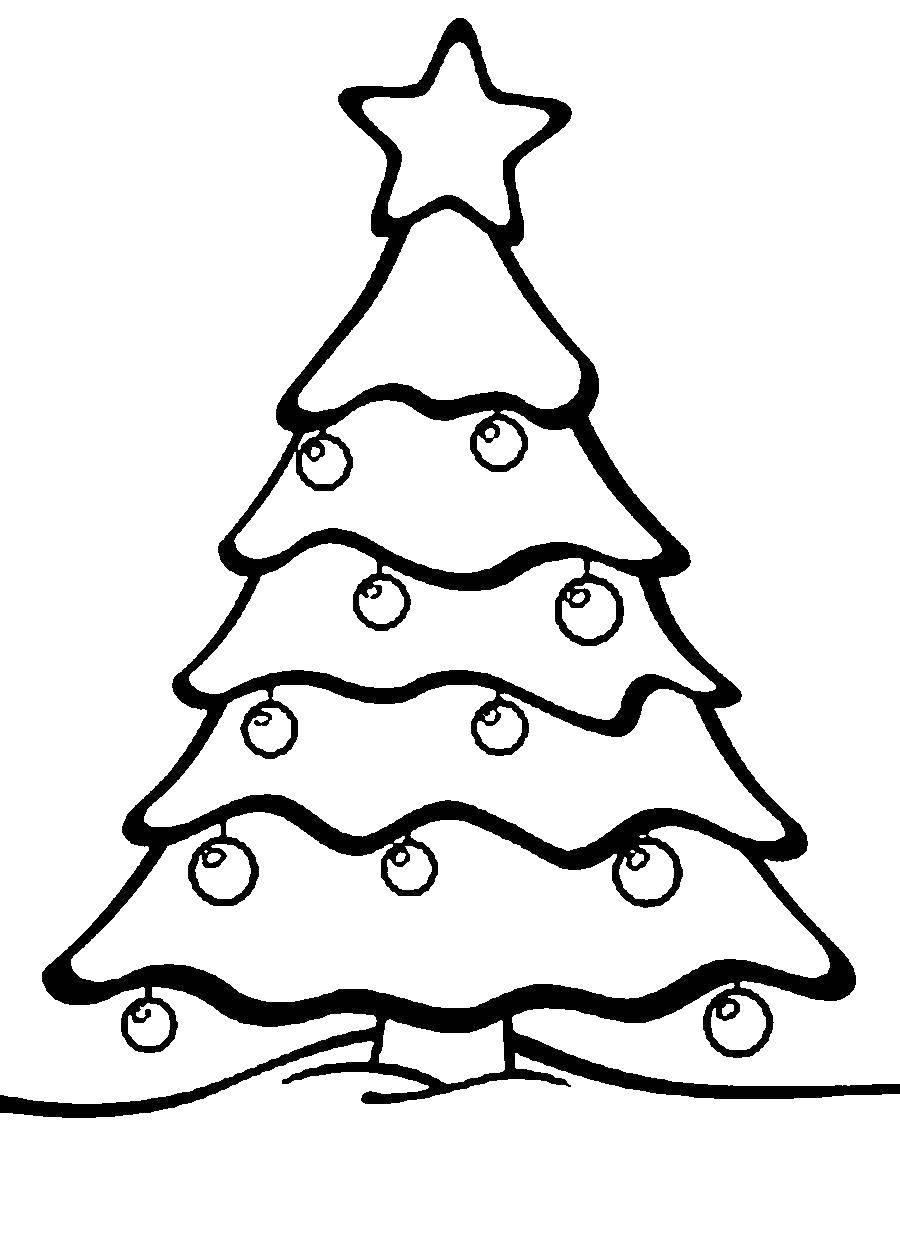 Раскраска Елка с шарами и звездой Скачать елка.  Распечатать ,раскраски елки,