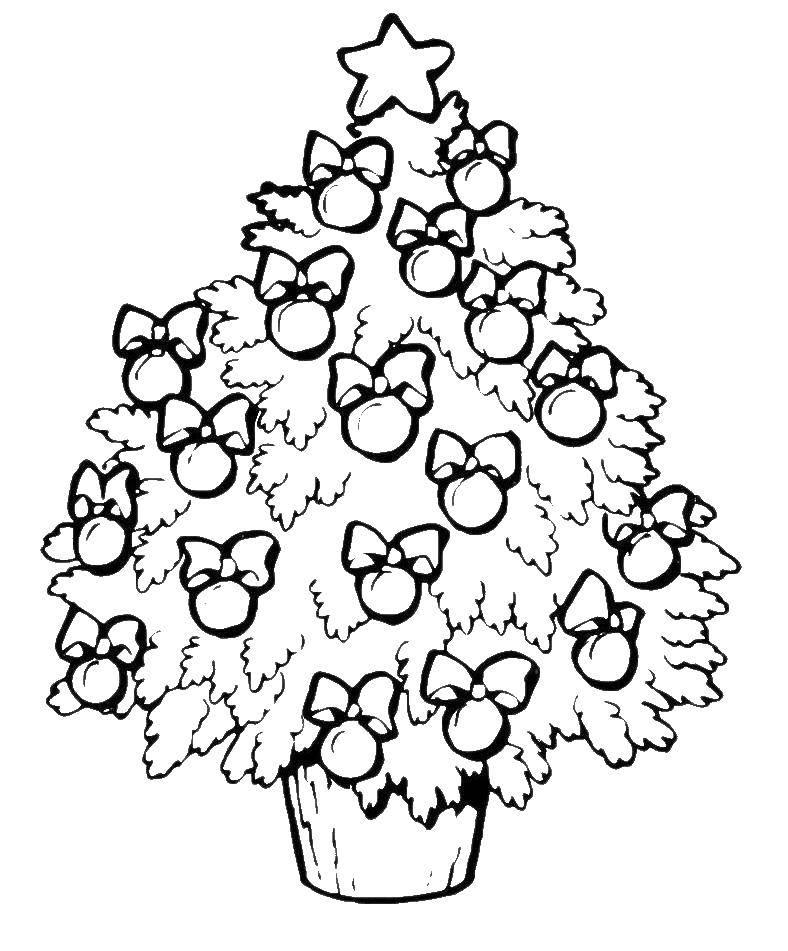 Раскраска Елка с шарами. пышная елка Скачать елка.  Распечатать ,раскраски елки,
