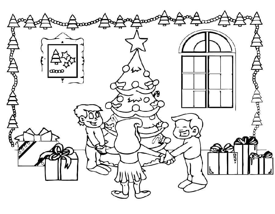 Раскраска Хоровод вокруг ёлочки Скачать Новый Год, ёлка, подарки, игрушки, дети, веселье, праздник.  Распечатать ,раскраски елки,