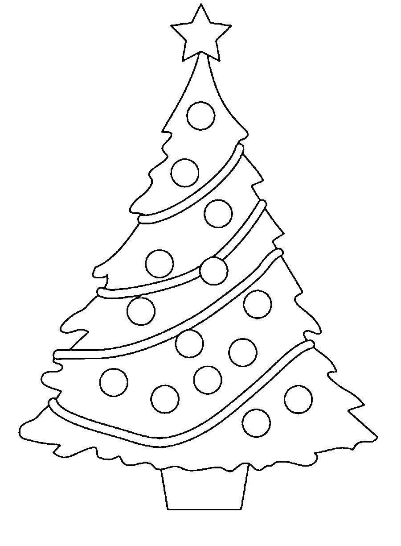 Раскраска Красивая елка с игрушками Скачать елка.  Распечатать ,раскраски елки,