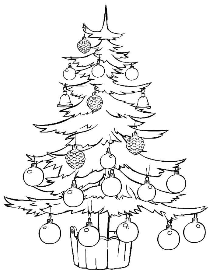 Раскраска Множество красивых новогодних игрушек Скачать Новый Год, ёлка, подарки, игрушки.  Распечатать ,раскраски елки,