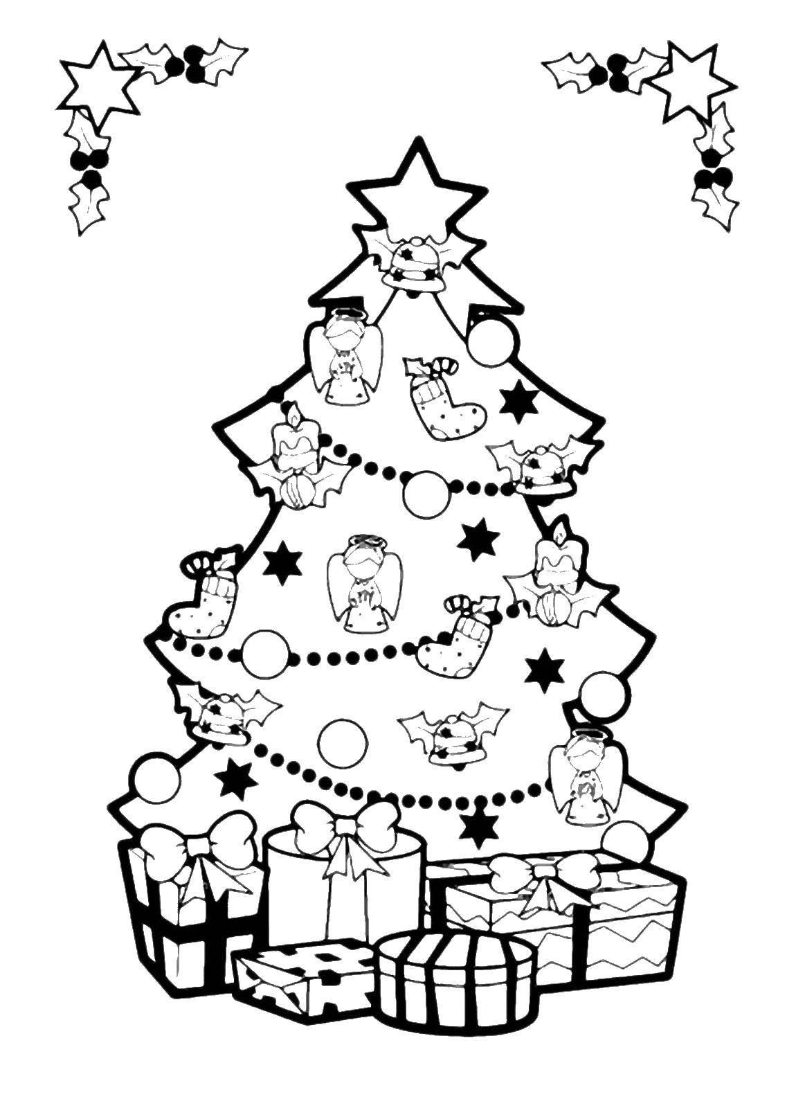 Раскраска Новогодняя открытка Скачать открытка.  Распечатать ,раскраски елки,