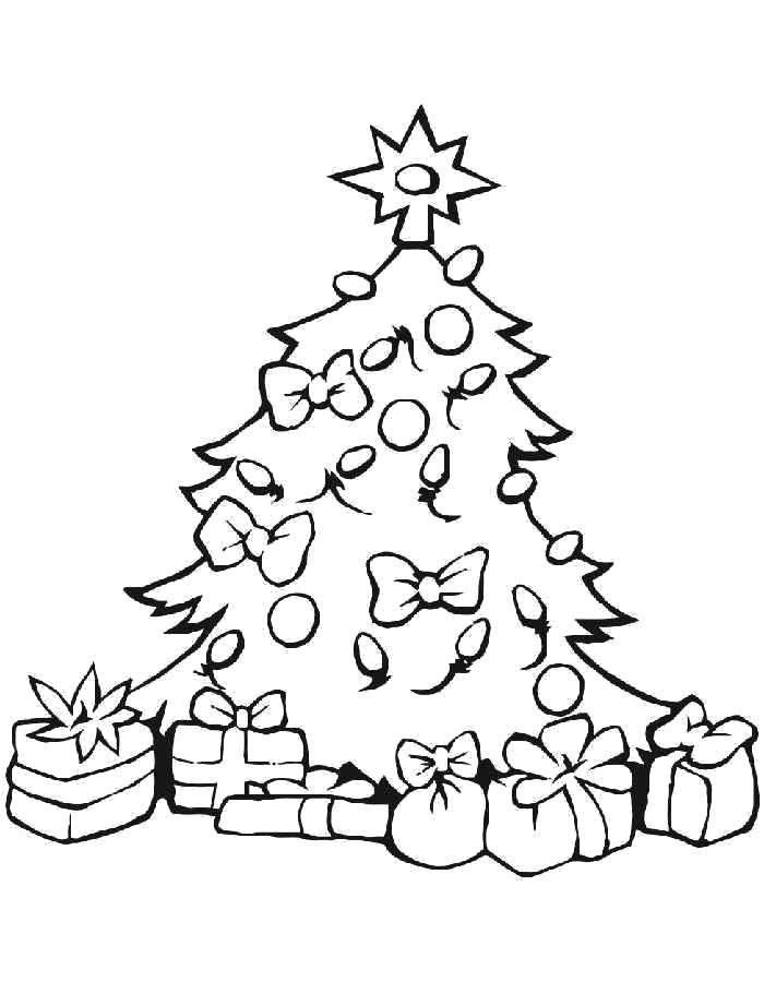 Раскраска Подарки под ёлочкой Скачать Новый Год, ёлка, подарки, игрушки.  Распечатать ,раскраски елки,