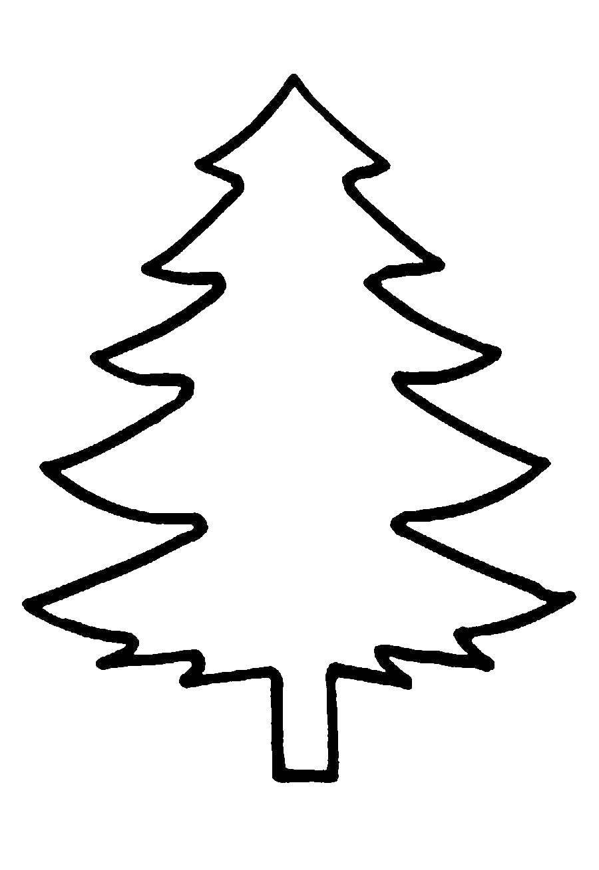 Раскраска простые раскраски Скачать контур дерева, контур елки.  Распечатать ,Контур дерева,