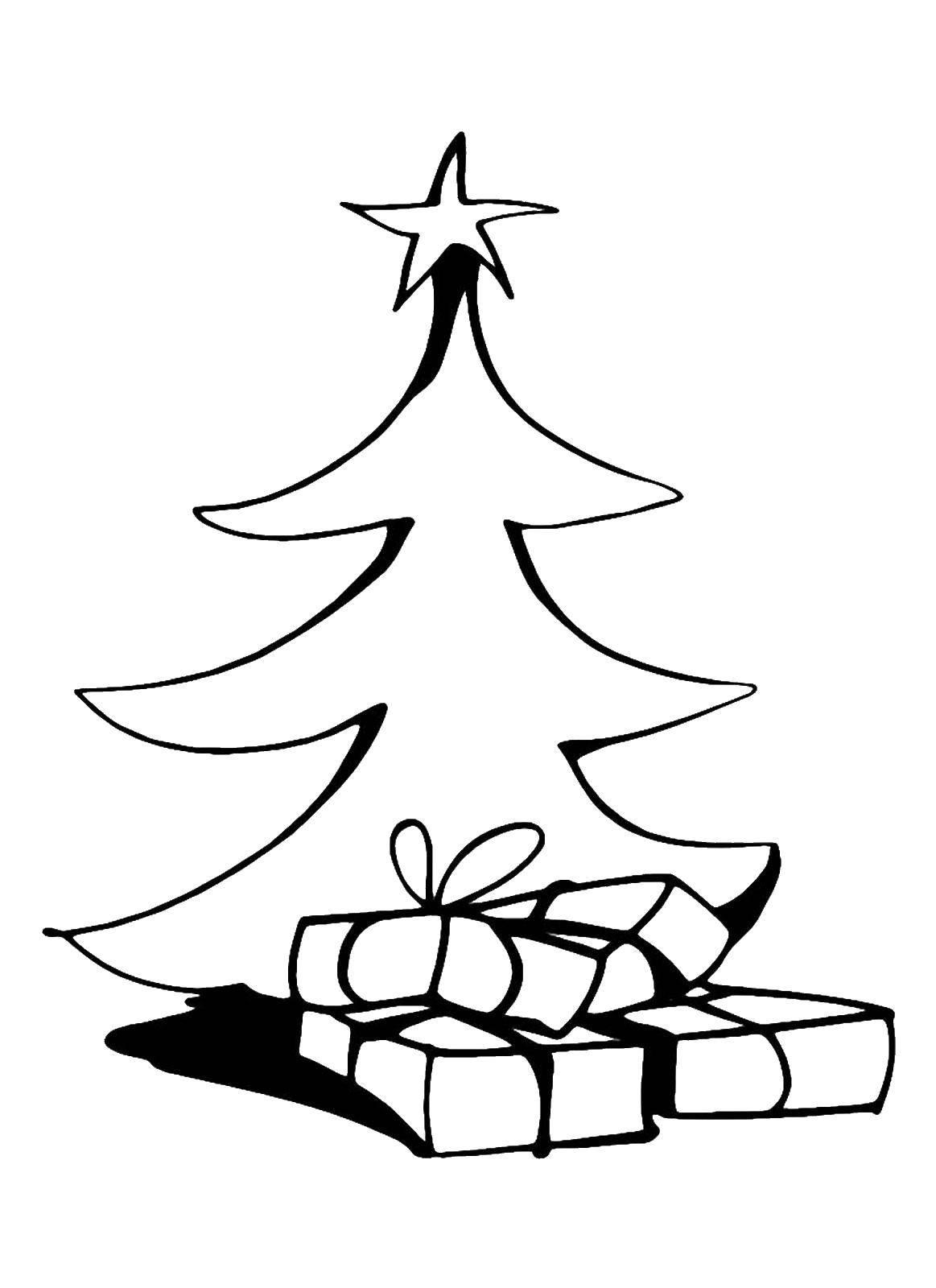 Раскраска Большие подарочки под ёлкой Скачать Новый Год, ёлка, подарки, игрушки.  Распечатать ,раскраски елки,