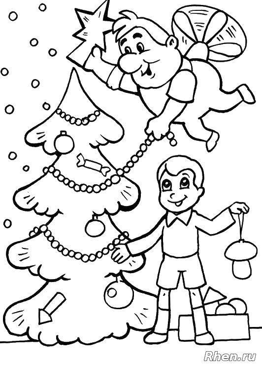 Раскраска Карлсон Скачать карлсон, мальчик, елка.  Распечатать ,Персонажи из сказок,