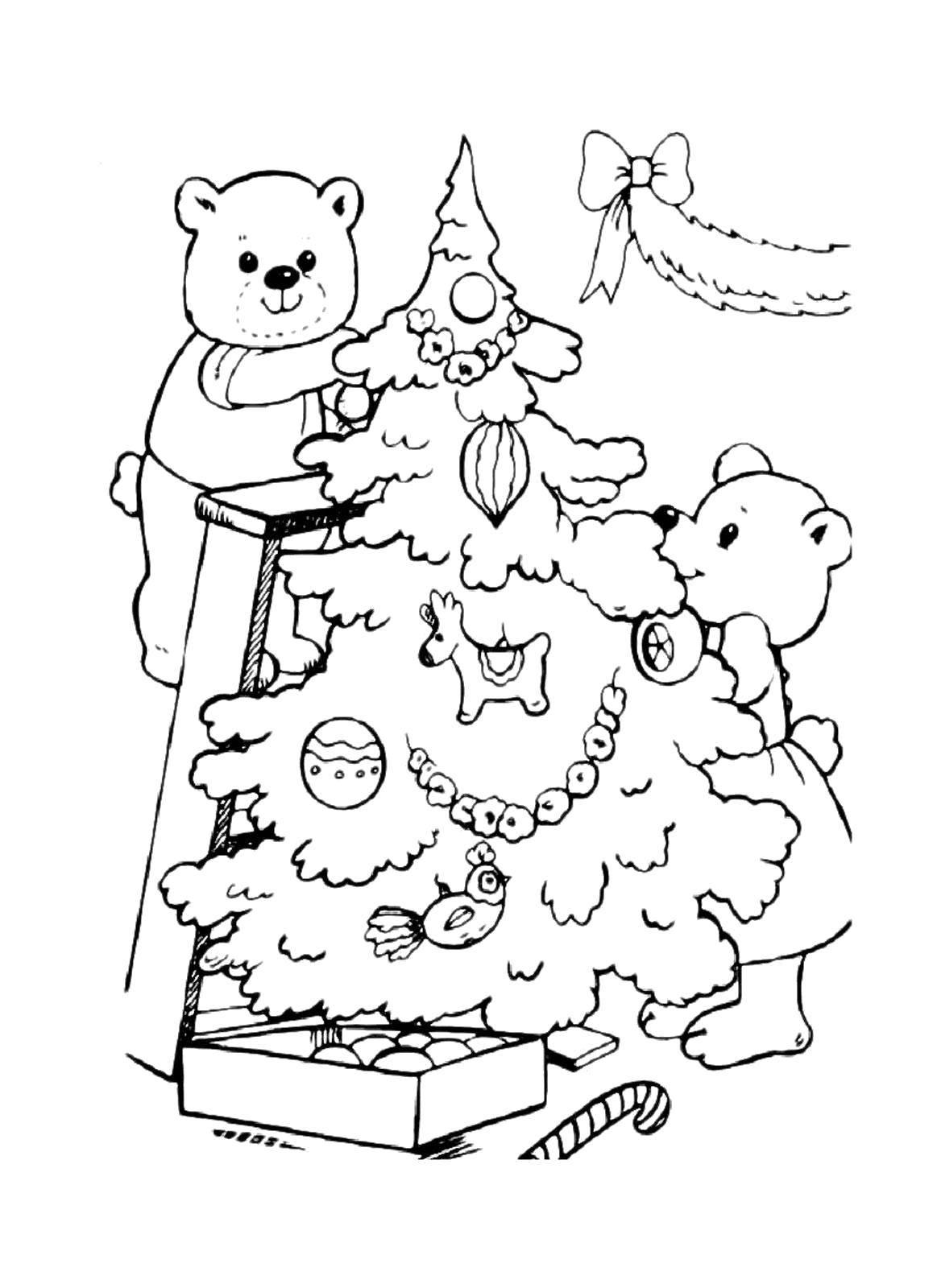 Раскраска Медвежата готовятся к новому году Скачать Новый Год, ёлка, подарки, игрушки.  Распечатать ,раскраски елки,