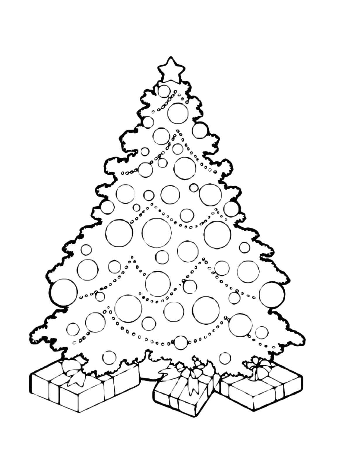 Раскраска Новогодняя ёлочка с подарками Скачать Новый Год, ёлка, подарки, игрушки.  Распечатать ,раскраски елки,