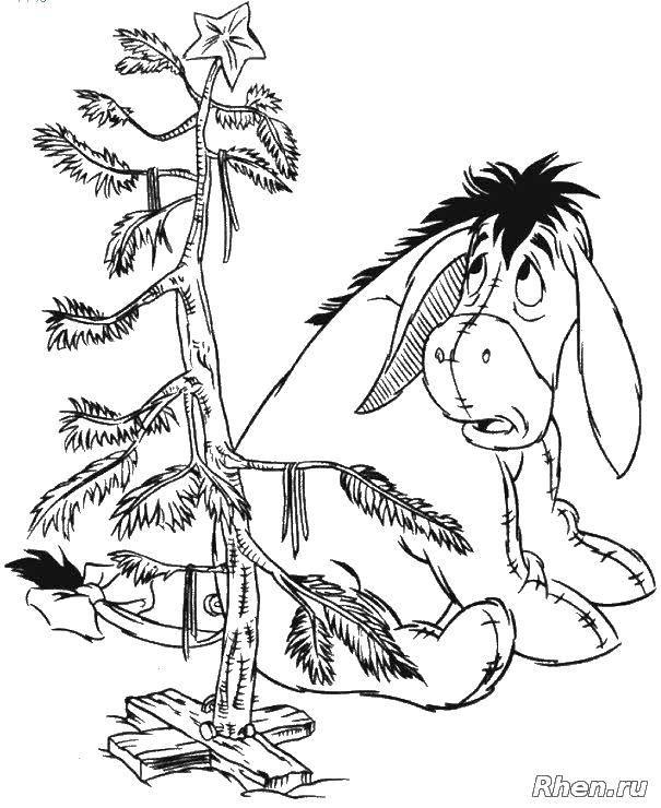 Раскраска Ослик иа Скачать ослик, бантик, дерева.  Распечатать ,Персонажи из сказок,