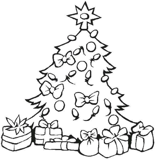 Раскраска Подарочки под ёлкой Скачать Новый Год, ёлка, подарки, игрушки.  Распечатать ,раскраски елки,