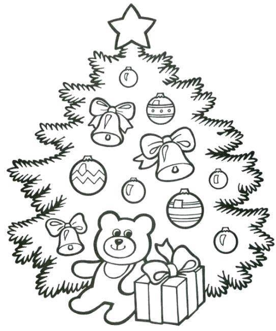 Раскраска Пушистая ёлочка с игрушками и звездой Скачать Новый Год, ёлка, подарки, игрушки.  Распечатать ,раскраски елки,