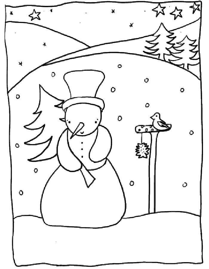 Раскраска Раскраски для малышей Скачать ,Природа, лес, зима,.  Распечатать