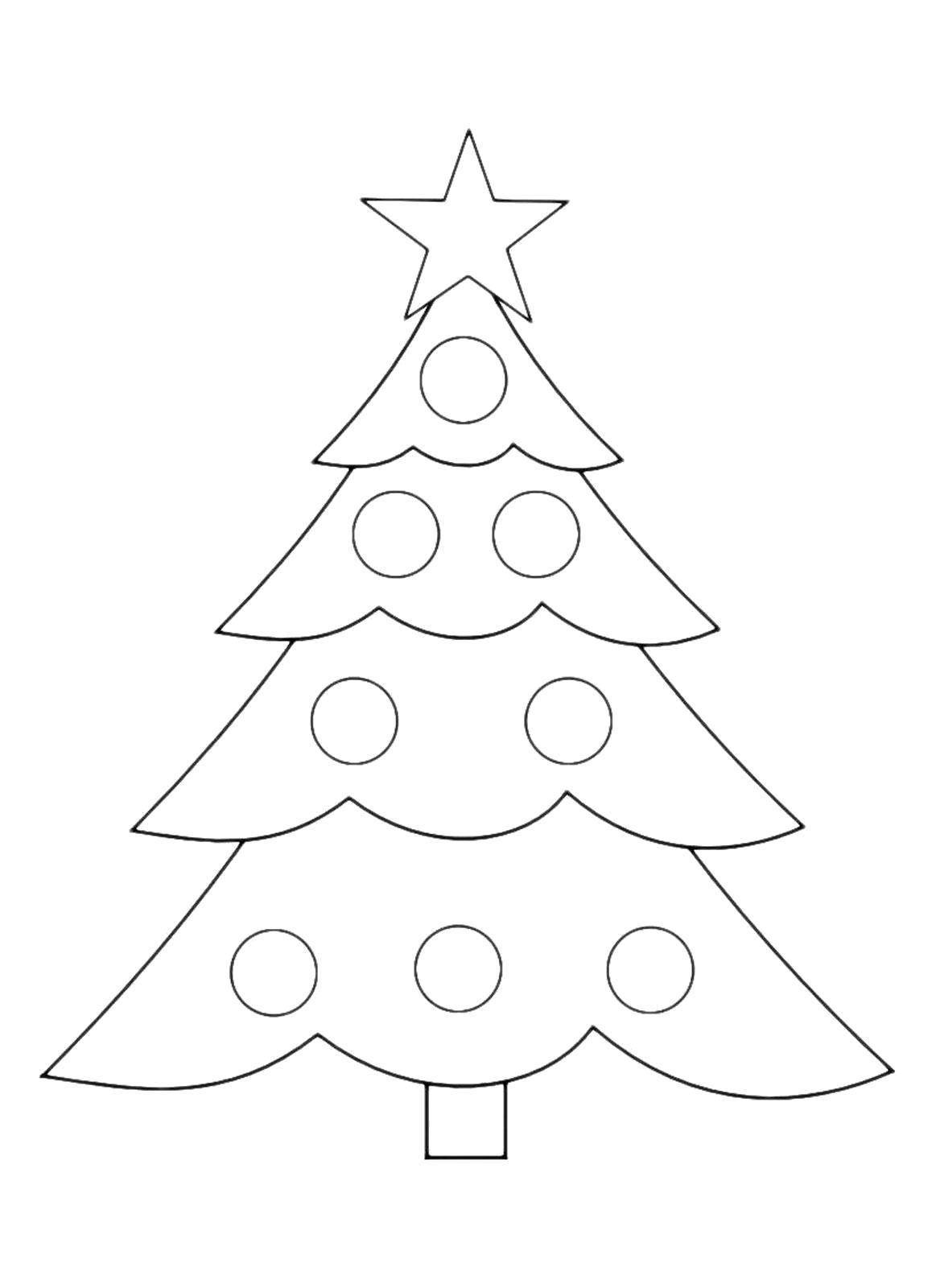 Раскраска Ёлка с игрушками Скачать Новый Год, ёлка, подарки, игрушки.  Распечатать ,простые раскраски,