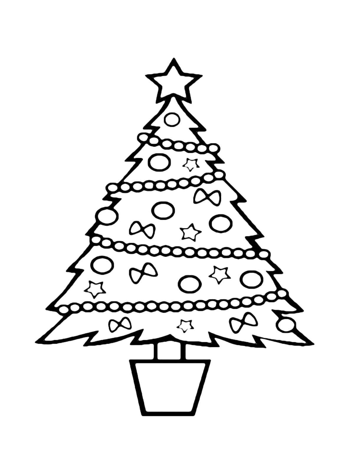 Раскраска Ёлка в горшке Скачать Новый Год, ёлка, подарки, игрушки.  Распечатать ,раскраски елки,