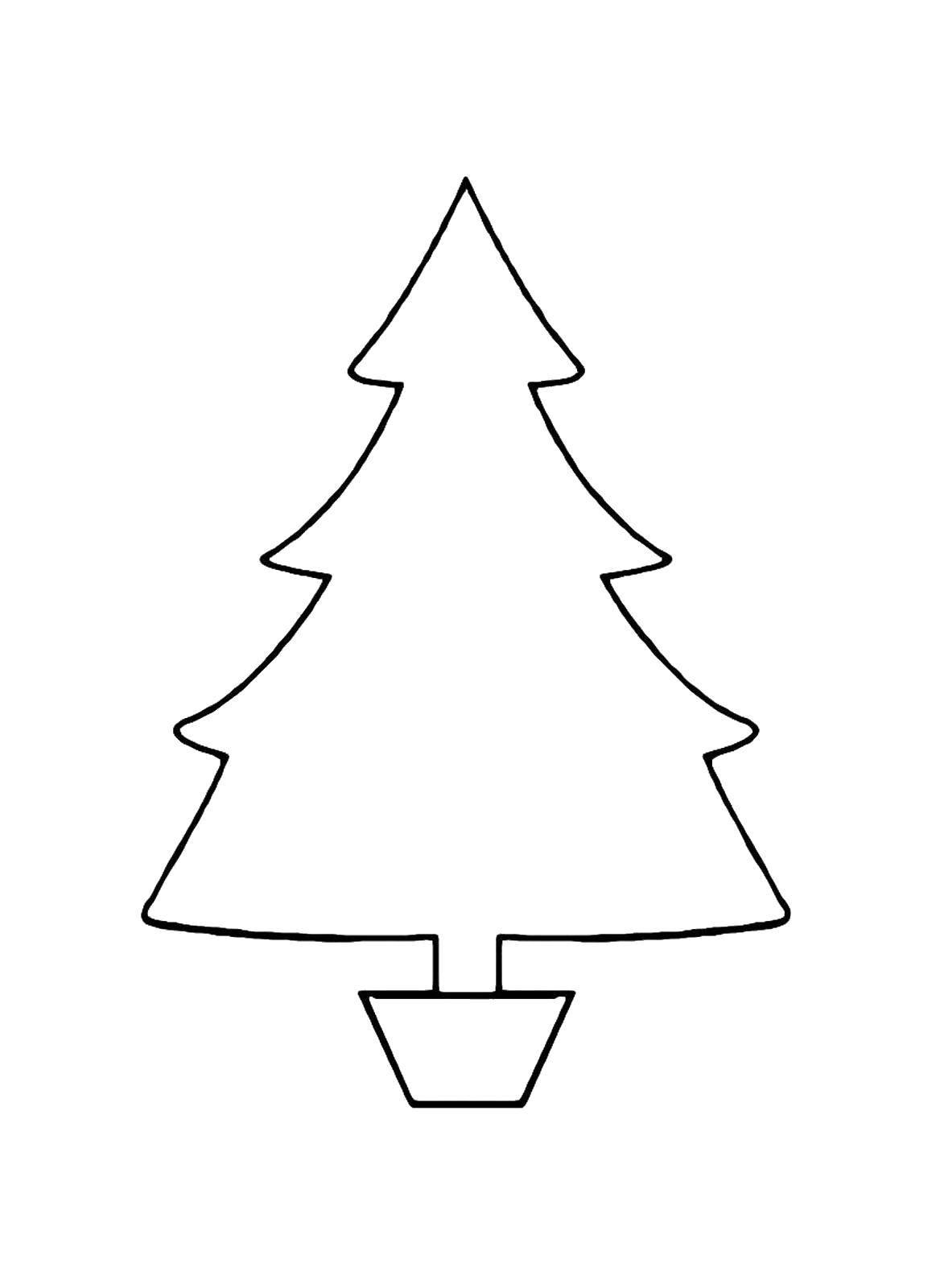 Раскраска Ёлочка на новый год Скачать Новый Год, ёлка, подарки, игрушки.  Распечатать ,простые раскраски,