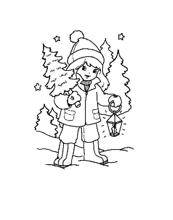 Раскраска Девочка с елкой в лесу Скачать девочка.  Распечатать ,Люди,