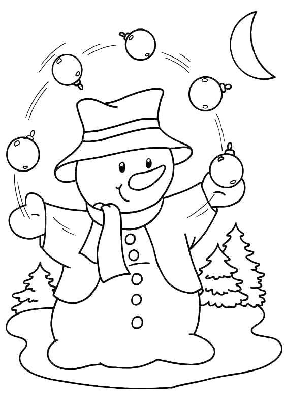 Раскраска Снеговик жонглирует новогодними игрушками. Скачать Снеговик, снег, зима, радость, Новый Год.  Распечатать ,снеговик,