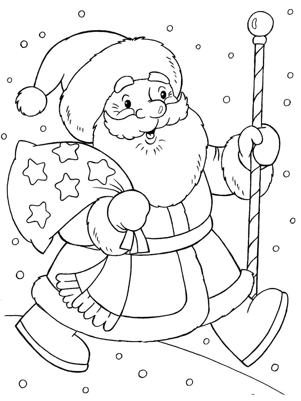 Раскраска Дед мороз с подарками идет Скачать мешок, дед мороз.  Распечатать ,Раскраски для малышей,
