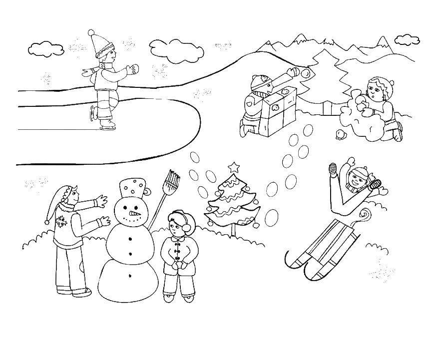 Раскраска Дети играют зимой Скачать дети, елка, зима.  Распечатать ,Люди,