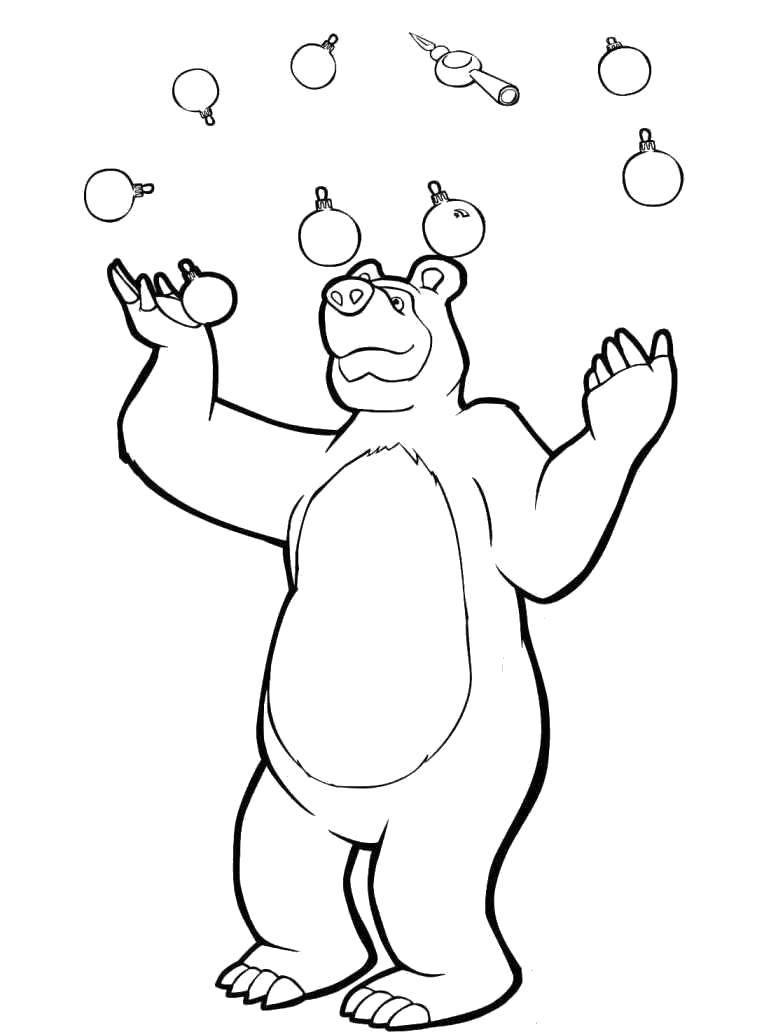 Раскраска Медведь жонглирует новогодними игрушками. Скачать Новый Год, веселье, игрушки, медведь.  Распечатать ,новый год,