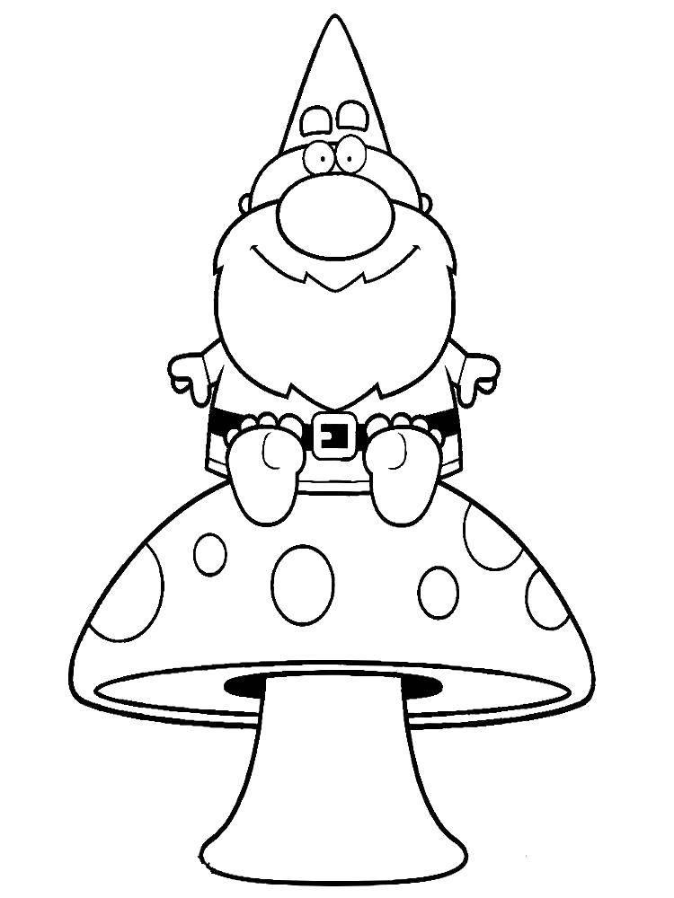 Раскраска Гном на грибочке Скачать Гном, гриб.  Распечатать ,гномы,