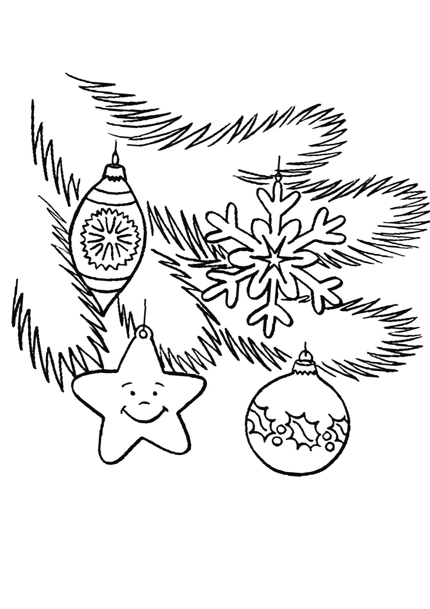 Раскраска Ёлочные игрушки Скачать Новый Год, Новогодняя игрушка.  Распечатать ,новый год,