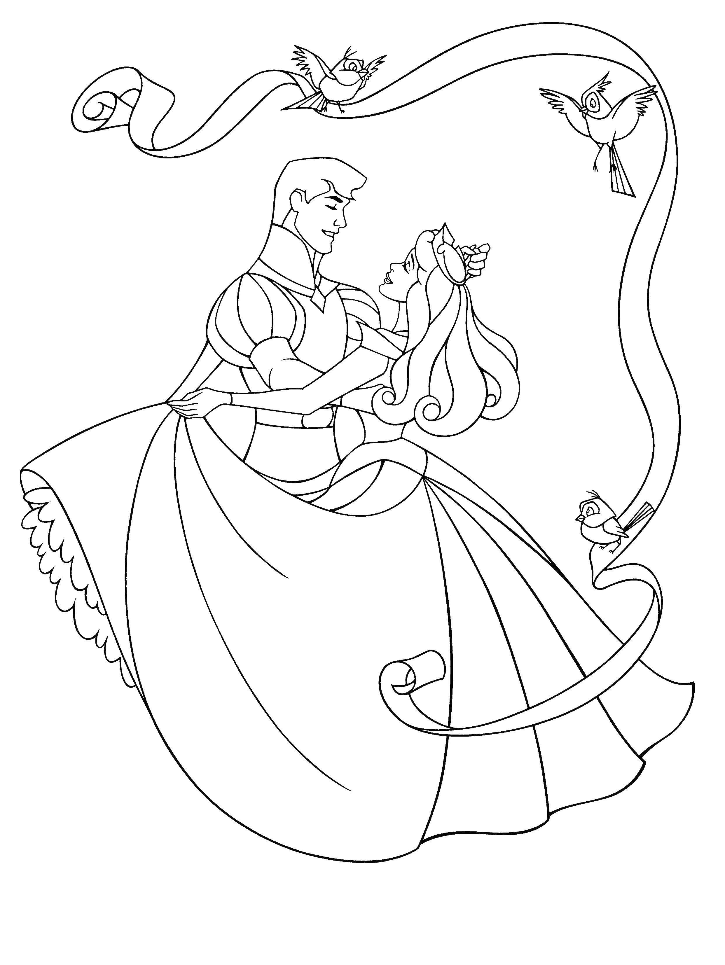 Раскраска Аврора и филлип Скачать Дисней, Спящая красавица.  Распечатать ,спящая красавица,