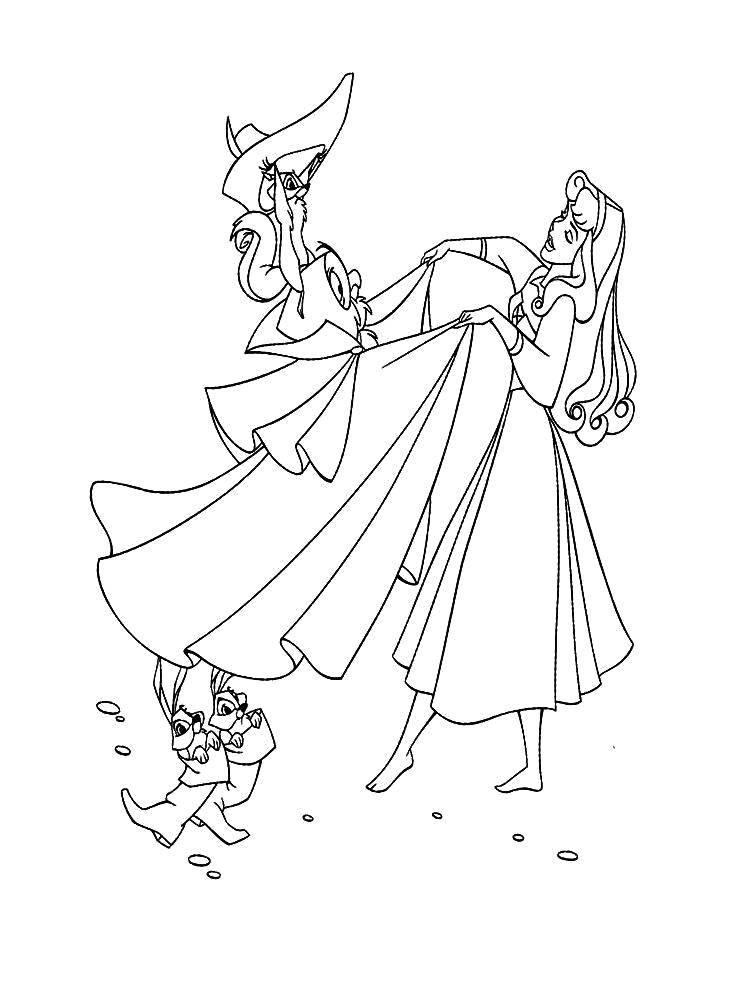 Раскраска Аврора с друзьями Скачать Дисней, Спящая красавица.  Распечатать ,спящая красавица,