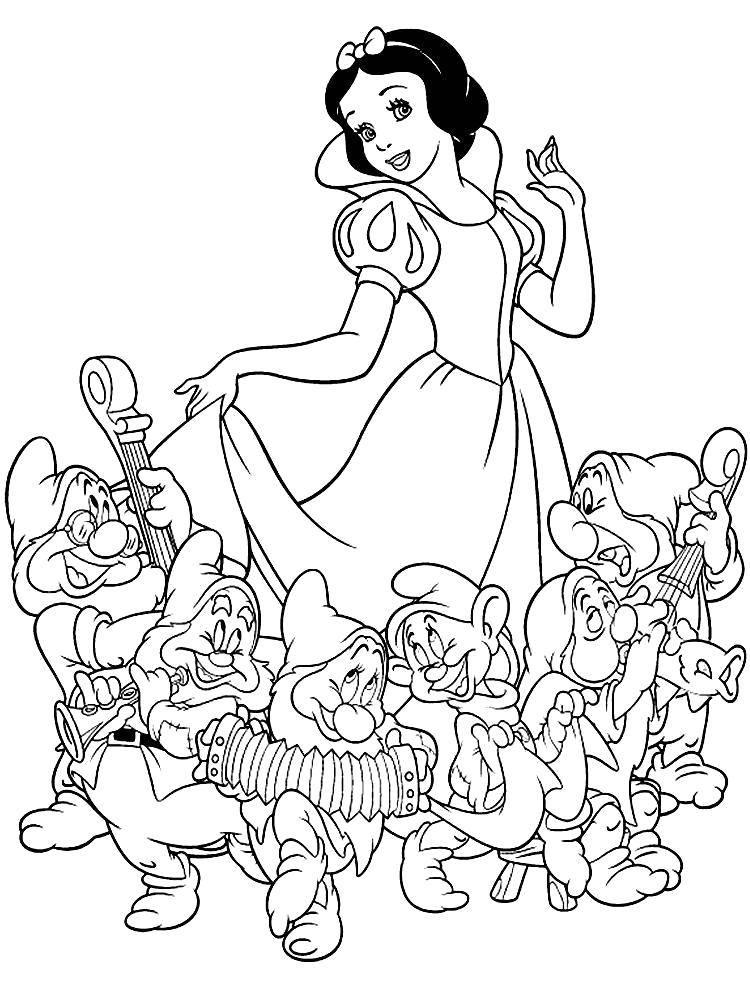 Раскраска Белоснежка и  7 гномов Скачать Персонаж из мультфильма, Белоснежка, Гномы.  Распечатать ,Персонаж из мультфильма,