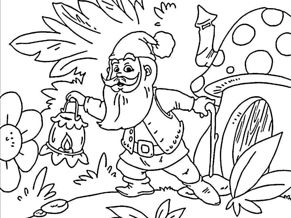 Раскраска Гном вышел из своего домика Скачать Гном, гриб.  Распечатать ,гномы,