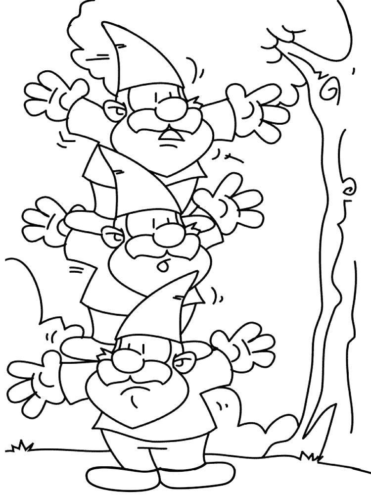 Раскраска Гномики Скачать ,Гном, лес,.  Распечатать