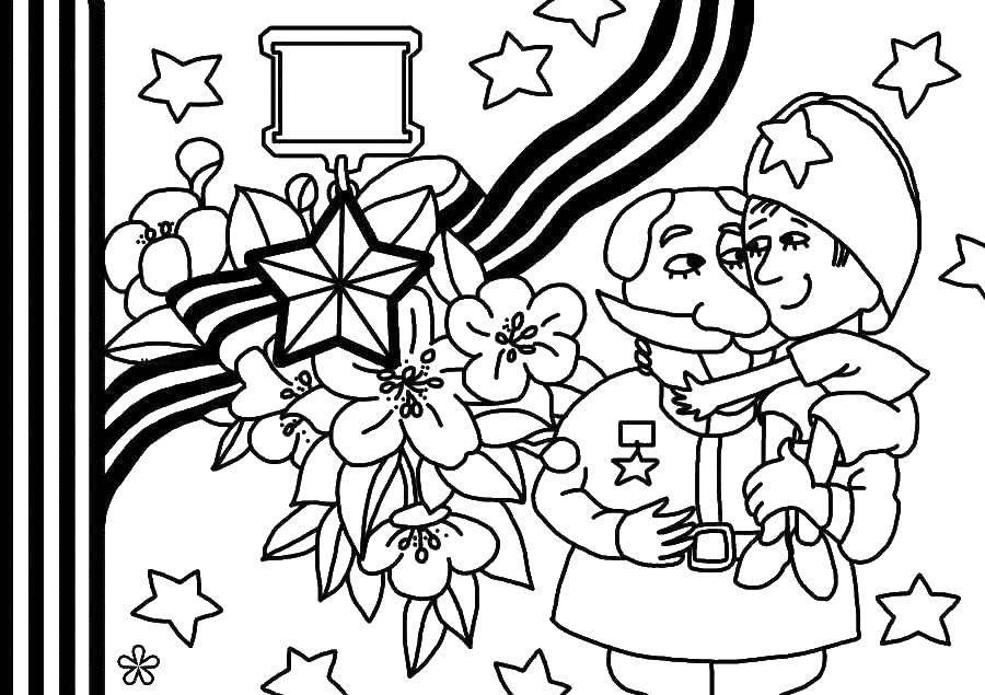 Раскраска Поздравление ветерана Скачать ,Поздравление, 9 мая, День Победы,.  Распечатать