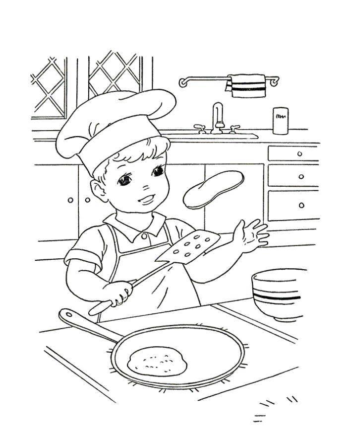 Раскраска Мальчик печёт блины Скачать Масленица, блины.  Распечатать ,масленица раскраски,