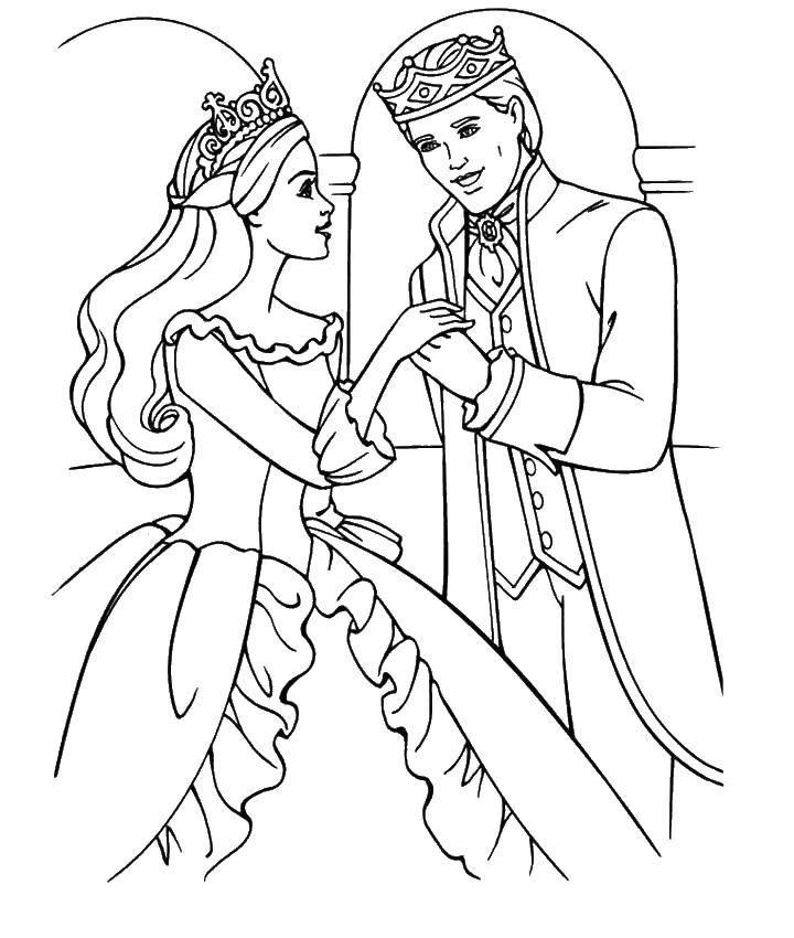 Раскраска Барби принцесса и принц Скачать ,Барби, принцесса, принц,.  Распечатать
