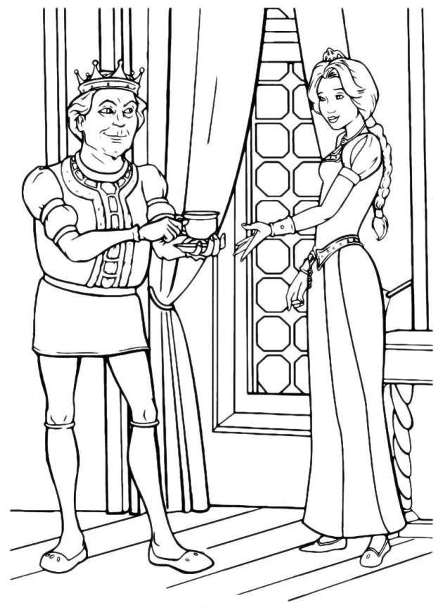 Раскраска король и королева Скачать единорог, крылья, хвост.  Распечатать ,раскраски,