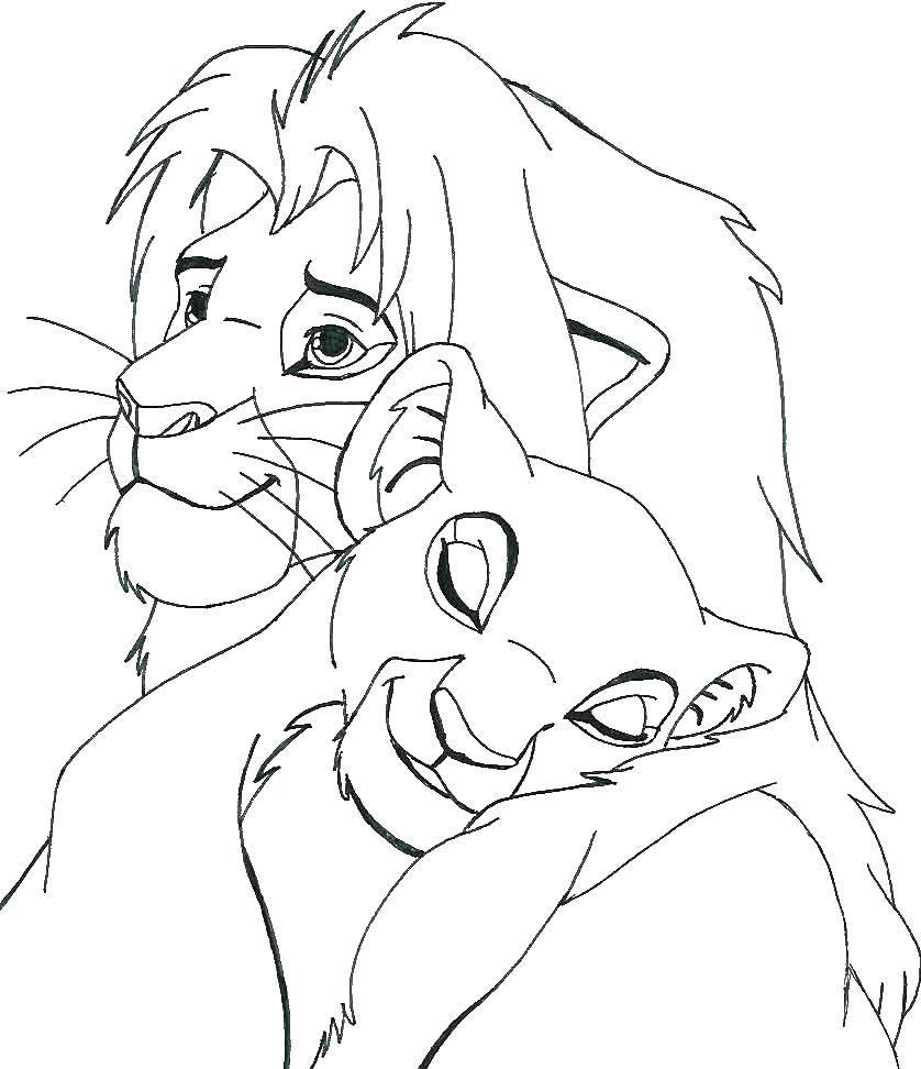 Раскраска Король лев и львица Скачать Дисней, Король Лев.  Распечатать ,Диснеевские мультфильмы,