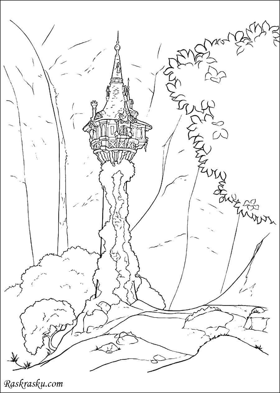 Раскраска Королевства Скачать дерева, замак.  Распечатать ,замки,