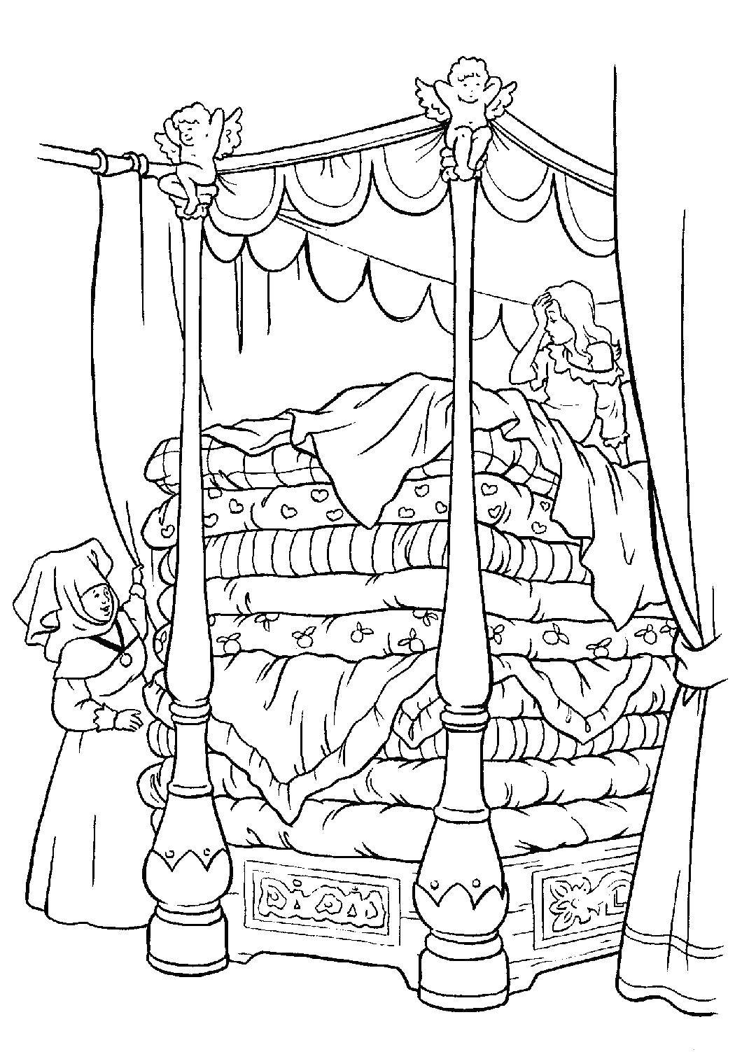 Раскраска Принцесса на горошине Скачать Персонаж из мультфильма, Принцесса на горошине.  Распечатать ,Принцессы,