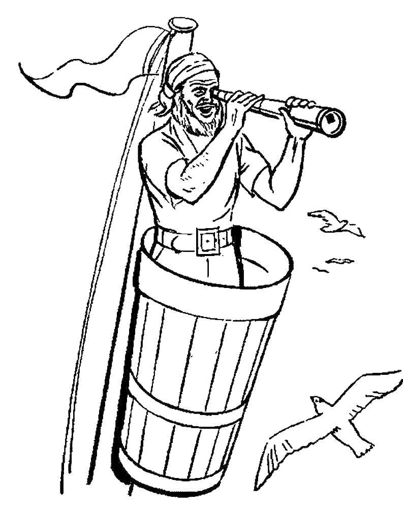 Раскраска Пират смотрит в подзорную трубу Скачать Пират, остров, сокровища, корабль.  Распечатать ,пираты,